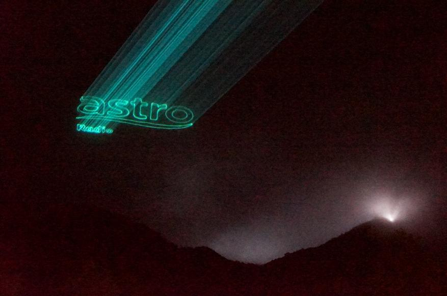 Astro logo projected on clouds